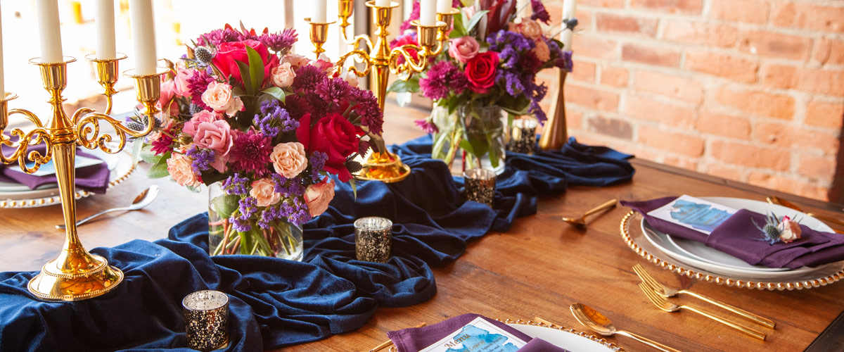 Wedding floral and table setting